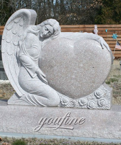 2017 Hot Sale Stone tombstone Angel with heart headstones new design