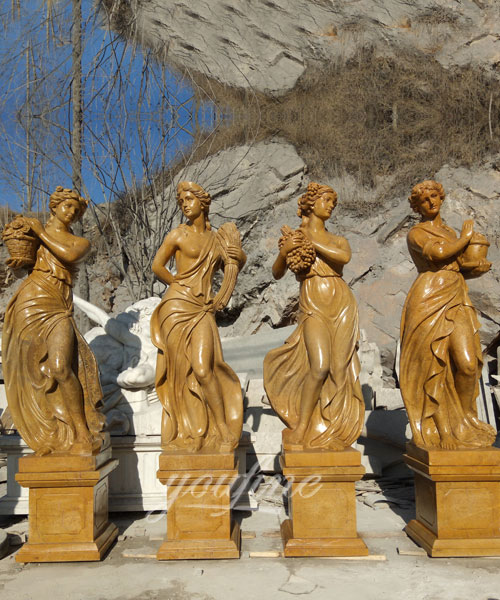 Antique Beige Marble Statues Four Seasons For Hotel On