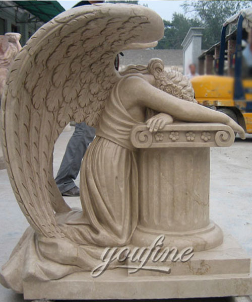 Beige marble crying angel tombdtone for sale