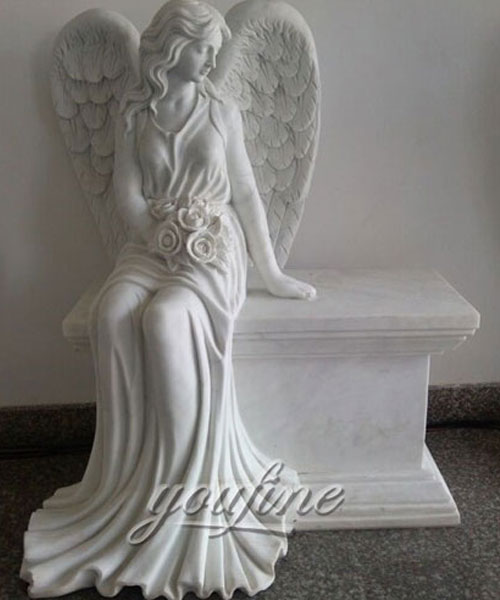 Best Detailed Carvings angel sitting marble headstone design for sale