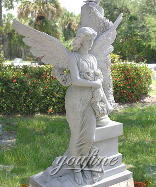 Best Detailed Carvings angel marble headstone for grave decorations