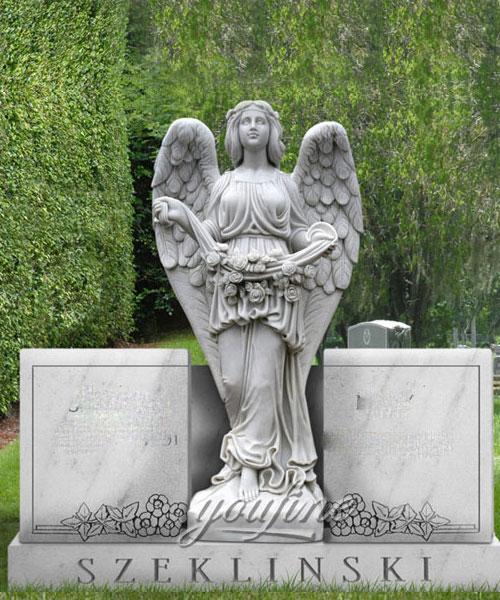 Carvings angel marble headstone memorial stones design