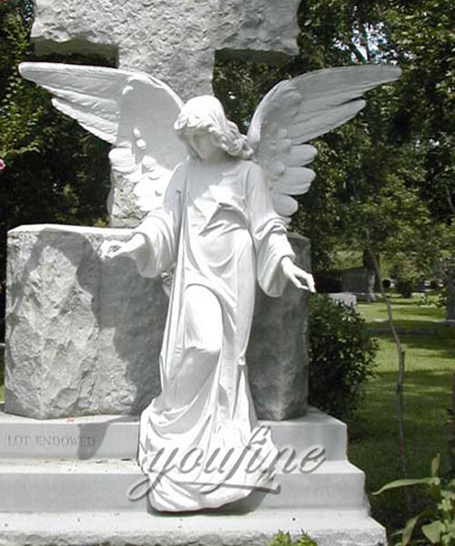 Best Designs Angel Style decorative pure white stone headstones for graves