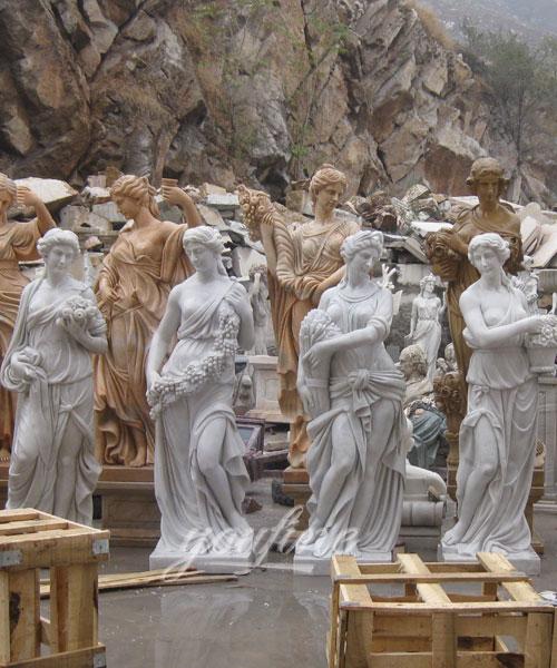 Classic Designs Pure White Four Season Lady marble garden statue