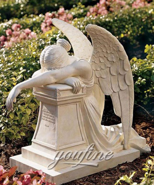 Classic Modern White Marble Carving Weeping Angel Tombstone design for sale