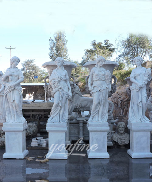 Outdoor White Marble Stone Four Season Goddess Sculptures