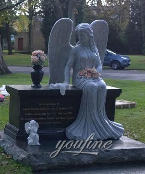 Customized granite stone angel hold flower with grave decoration cherub and vase