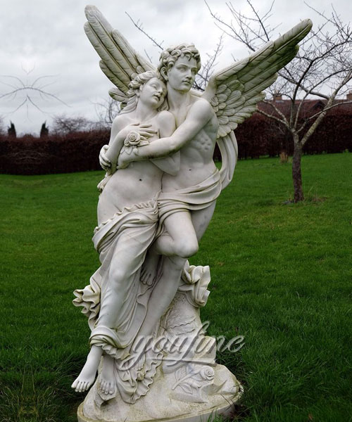 Decorative Marble cupid and psyche sculpture for Garden outdoor