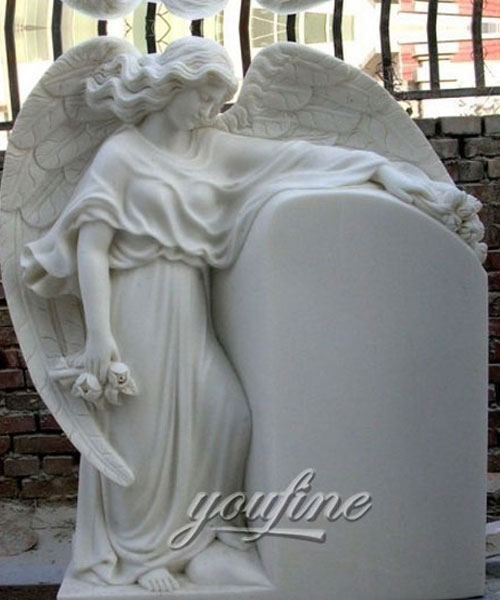 Detailed Carving Classic pure white marble angel headstone design on selling