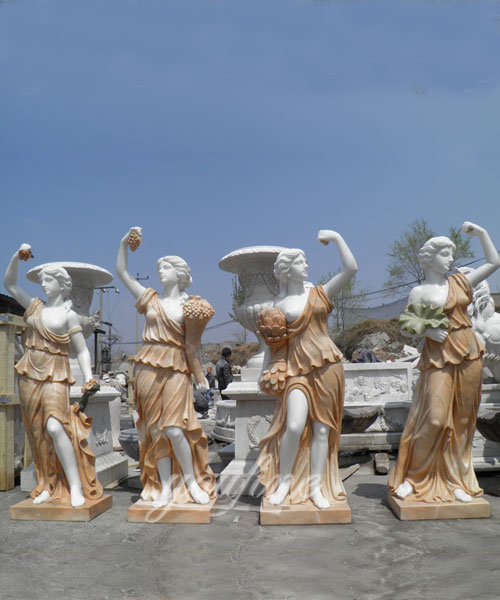 Marble Stone Carved Luxury Home Decoration Life Size Four Seasons Statues