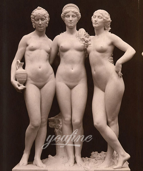 European stone famous marble figure the three Graces relief for indoor ornament on sell