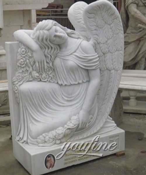 Factory price white marble angles gravestone design