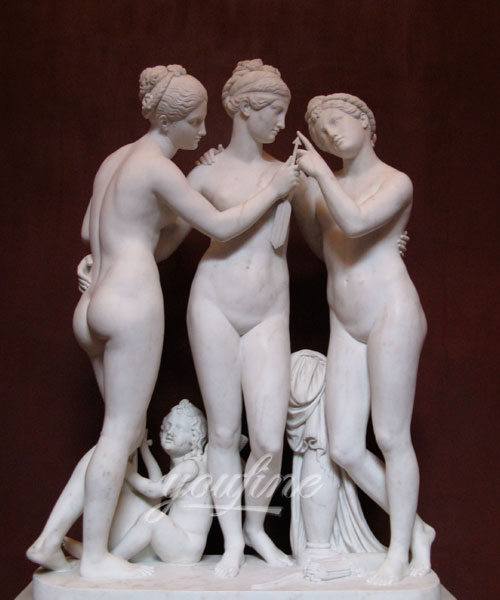 Famous stone three graces female nude marble sculptures for sale