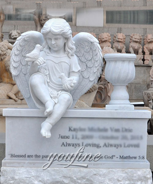 Hand Carved Factory Direct supplier white marble cherub statue grave decoration