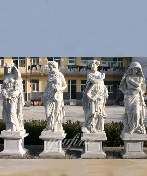 Hand carved classic four season white marble statues for sale