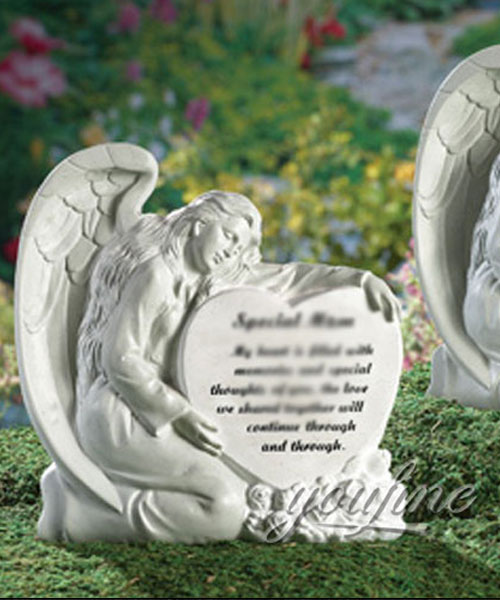 Hand carved natural marble angel heart shape headstones monuments for sale