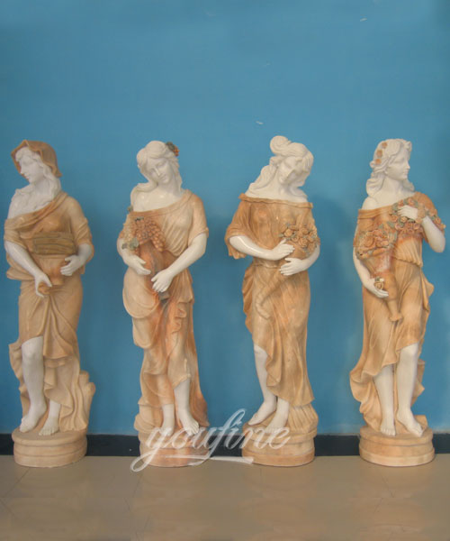 High quality garden decoration four seasons stone marble statues for sale