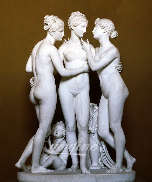 High quality stone sculpture the three graces marble statue for home decor