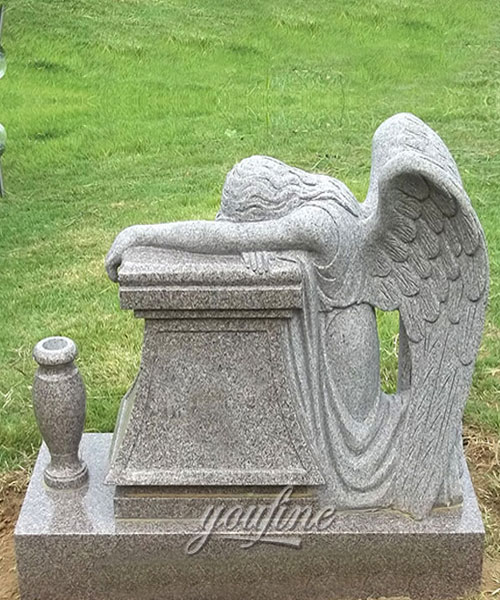 Hot Sale Grey Marble Carving Weeping Angel Tombstone for sale