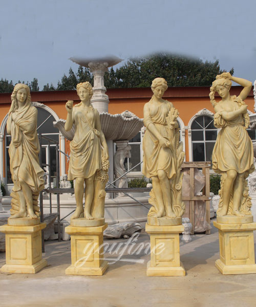 Hot sales decoration western beige marble statue of four season for decor