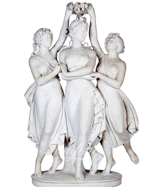 Life size nude female the three graces marble statue for home decoration