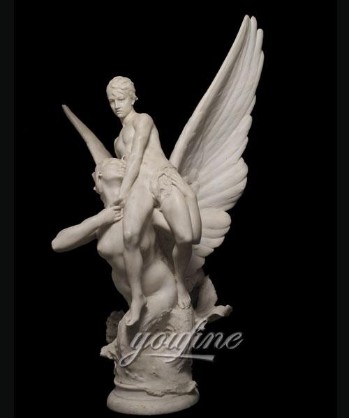 Modern Winged Siren Seizing an Adolescent angel statues for garden decor