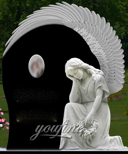 Natural Granite  Angel  cemetery monuments new design for sale