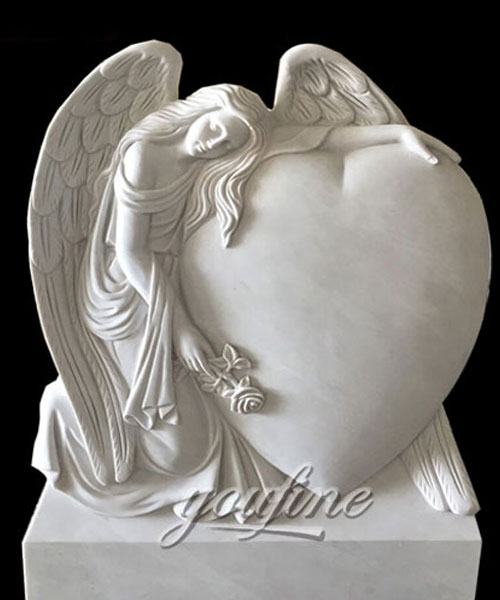 Natural Marble Angel Heart Headstone Monument Design for sale