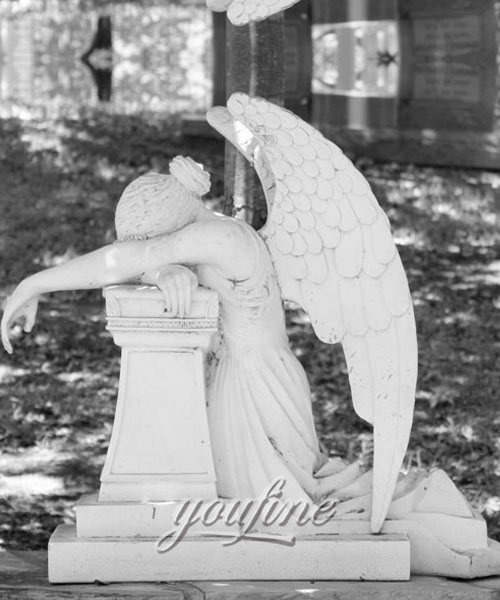 Natural Marble Hand Carved antique marble cermetery statue crying angel headstone