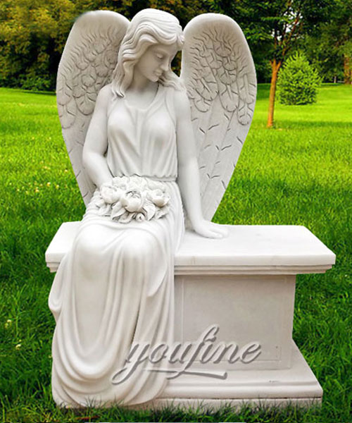 New Designs High Quality carved angel headstone cemetery for sale