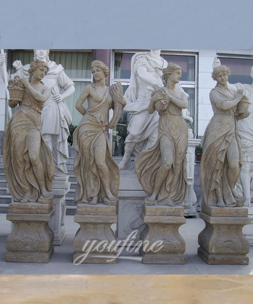 Outdoor custom four season beige marble statues for home decor