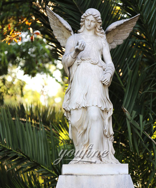 Outdoor yard life size angels sculptures marble statues for sale