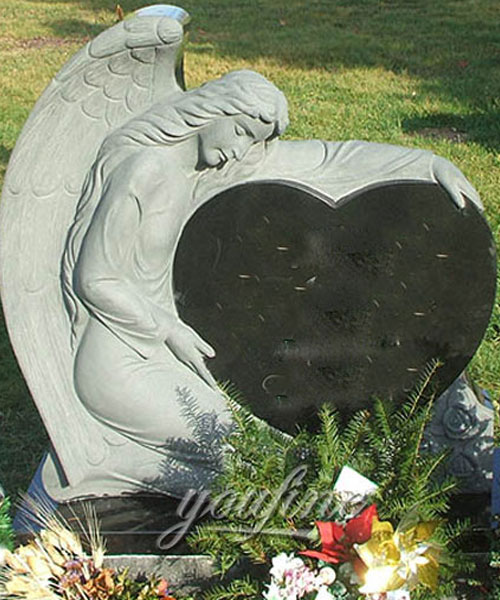 Marble stone angel cemetery monuments with granite heart design on sale