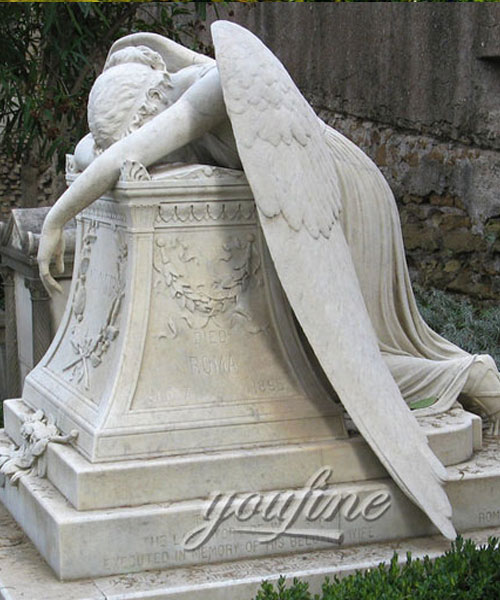 Stone crying angel tombstone with grave vase for sale