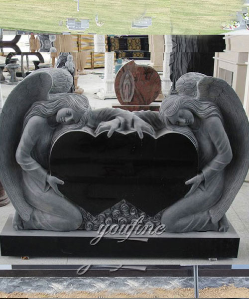 Unique Double Heart Carving weeping angel Monument design for sale