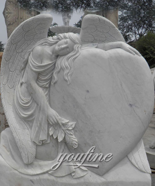 Buying upright stone carved fallen angel hold heard memorial for sale
