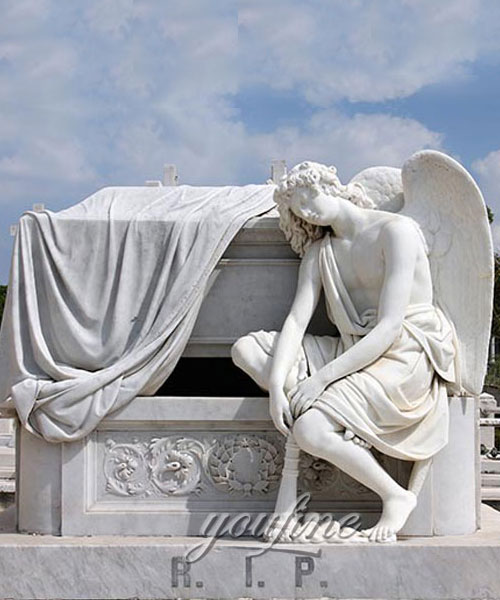 Outdoor White Stone holloween fallen angel tombstone for sale