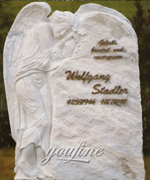 Factory supply white marble and weeping angel tombstone for sale