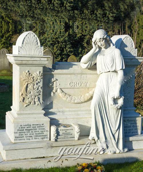 White marble angel hold garland gravestone design