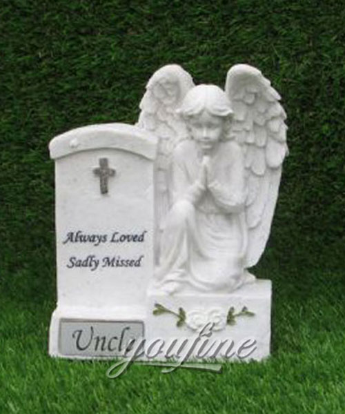 White stone preying angel grave new design for sale