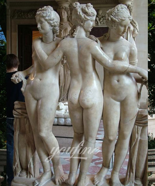 Outdoor white marble the three graces statue for decor