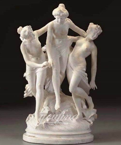 Outdoor life size white marble three graces statues for sale