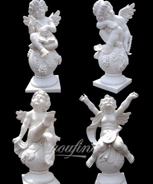 Home garden decor little cherub marble angel statue with wing for sale