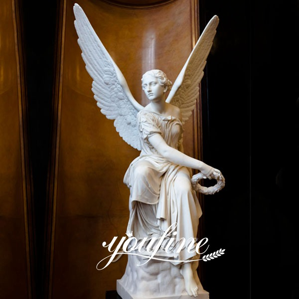 Marble Sitting Angel with Wings Statues for Garden Supplier MOKK-243