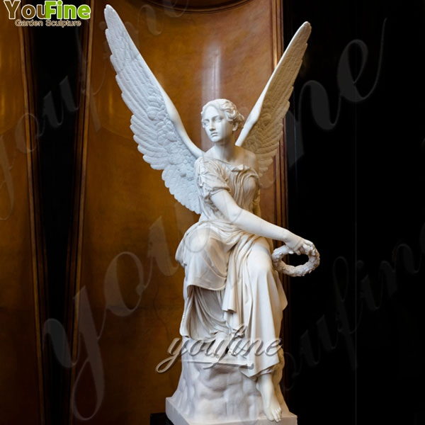 Famous Marble Sitting Angel with Wings Statues for Garden Supplier MOKK-243