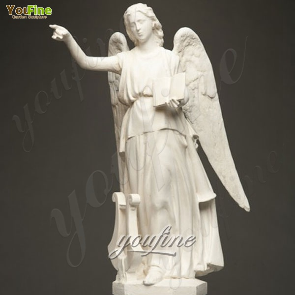 Outdoor Marble Angel with Book Statues Decor Life Size Stone Large for sale MOKK-237