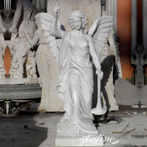 Pure Marble Holding Trumpet Angel Statues for Garden Supplier MOKK-171