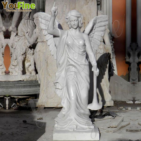 Pure Marble Holding Trumpet Angel Statues for Garden Supplier MOKK-171