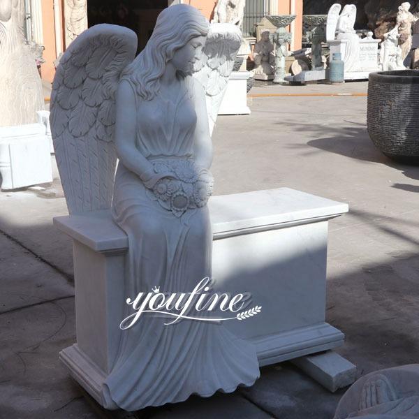 Marble Angel Memorial Headstones with Flower China Factory MOKK-98