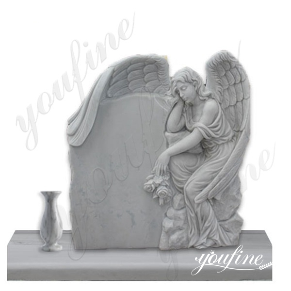 White Marble Angel Tombstone with Flower Pots China Supplier MOKK-36
